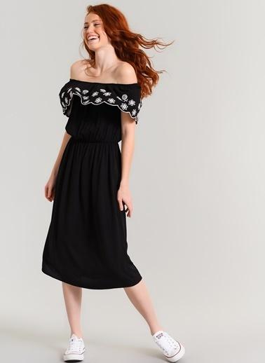 Agenda Nakışlı Elbise Siyah